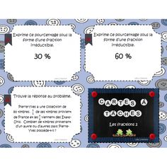 Cartes à tâches: Les fractions 2 Math Blocks, Teacher Boards, Math Fractions, Cycle 3, French Language, Fun Math, Kids Learning, Teaching, Education