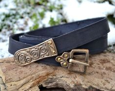 MORAVIA MAGNA Early Medieval Slavic Belt with Bronze Buckle and a Strap End Black Color Colour SCA Vikings Viking