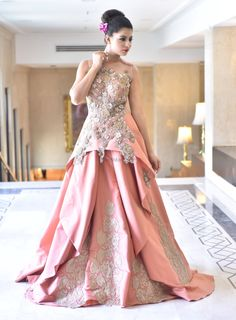 Peach Evening Gown with Floral Motifs and Embroidery