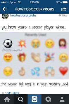 #soccer girl problems ..you know your a soccer player when you 3 fav is the crying face
