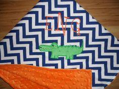 University of Florida - Custom Monogrammed Minky Baby Blanket - Blue Chevron with Orange Minky on Etsy, $29.50