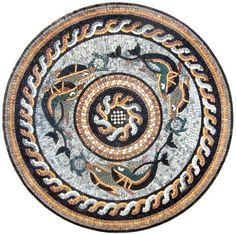 Marble Mosaic Rondure -Fish Wheel