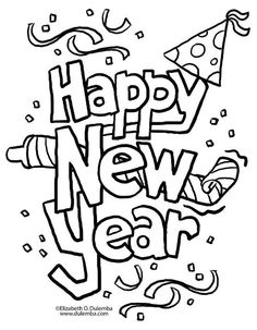 New Years coloring pages - New Years eve coloring sheets - party ...