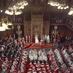 The House of Lords during the opening of Parliament on the Queen's 40th birthday. The Queen has only missed two of the ceremonies during her reign - in 1959 when she was pregnant with Prince Andrew and in 1963 when she was expecting Prince Edward.