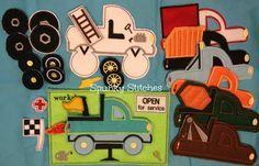 Cute garage monster truck quiet book inspiration.