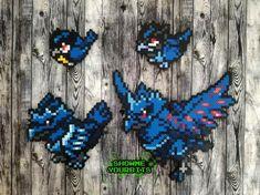 Pokemon Sword and Shield Rookidee/Corvisquire/Corviknight/Gigantamax Corviknight Perler Sprite Pixel Pokemon, Pyssla Pokemon, Hama Beads Pokemon, Pokemon Craft, Pearler Beads, Papercraft Pokemon, Pokemon Sprites, Pokemon Cross Stitch, Pixel Beads