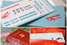 Faire-parts sur mesure Voyage Pochette Billet d'avion carte d'embarquement Wedding invitation boarding card Design by latelierdelsa.com