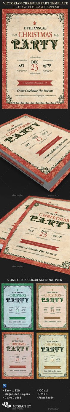Victorian Christmas Party Template has a unique Victorian feel. This flyer was designed for upscale and formal holiday events. 4 color options are included for easy application. Whats Included 1 4x6 Photoshop Victorian ChristmasParty TemplateDetails  Print Size: 4x6  4 One-Click Color Options  Organized Layers  Color Coded Layers  CMYK/300 Dp