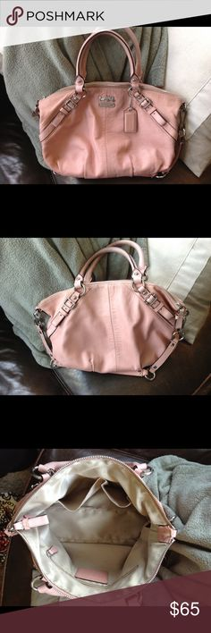 Super cute blush Coach purse Light blush bag. Absolutely perfect for summer! Too small for me, but I absolutely LOVE it! Great condition with minor scuffs in the handle/strap. Coach Bags Shoulder Bags