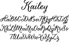 "Kailey font - a hand lettered, voluptuous typeface with a bold attitude to match her curves. This oblique font is inspired by Molly Jacques's ""signature"" lettering style, using bold brush strokes, fluid flourishes, and distinctive characters."
