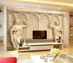 Byzantine Sculptures 3D Embossed Look Wallpaper Byzantine Columns Wall Mural Classic Home Decor Cafe