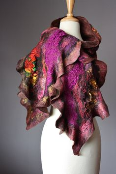 Nuno Felted scarf  Wool  silk  collage  by VitalTemptation on Etsy, $155.00