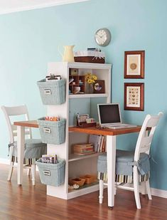 One dining table spliced with one bookshelf equals two work stations. Thumbs up? This is just one of MANY home office ideas you'll find on our site at http://theownerbuildernetwork.co/ideas-for-your-rooms/home-office-and-study-gallery/home-offices/ Let us know what you think of it in the comments section.