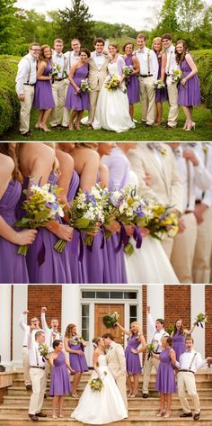 This is so similar to what I want. The ladies would wear a lighter purple, the gents would wear grey and have green ties, and all the bouquets would be of lavender. <3