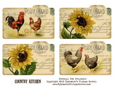 Ephemera's Vintage Garden: Free Printable - Country Kitchen Recipe Cards I put together some country cottage recipe cards for you this week. They would also make cute backyard picnic place cards or journaling cards too. Images Vintage, Vintage Diy, Vintage Labels, Vintage Ephemera, Vintage Cards, Vintage Paper, Decoupage Vintage, Printable Tags, Free Printables