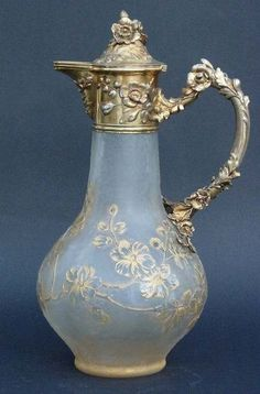 Etched glass body claret jug by Daum with German silver mounts, Germany 1890 Antique China, Antique Glass, Antique Silver, French Bordeaux, Bordeaux Wine, Wine Carafe, Wine Bottles, Decanter, Brick And Stone