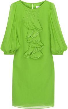 ShopStyle: Tibi Silk ruffle-front dress