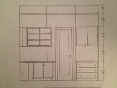 Design Plans: View #5 - This is looking at Sophie's closet. There is a curve in the wall to the left of the door and an alcove to the right. The shelving on left will curve around the wall. While the closed cabinatry serves as her newly built in dresser area.