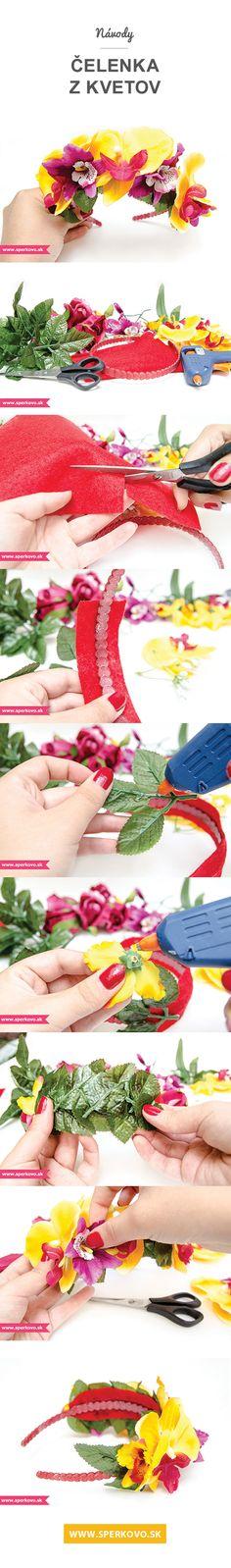 DIY, craft, kreatívne nápady, návody, fotopostup, handmade, čelenka, kvety. www.sperkovo.sk