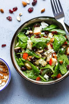 Apple Feta Spinach Salad - Crunchy, sweet and easy to make, this healthy spinach salad is full of fresh flavors.