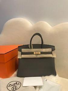 aa489e3e98 NIB Hermes Birkin Bag 25 Etain Togo Handbag Gold Hardware GHW Receipt 2018  #Hermeshandbags
