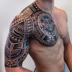 101 Badass Tattoos For Men: Cool Designs + Ideas Guide) - Badass Tribal Arm Shoulder Chest Tattoo - Mayan Tattoos, Polynesian Tattoos Women, Polynesian Tattoo Designs, Maori Tattoo Designs, Maori Tattoo Arm, Tatau Tattoo, Tattoos For Guys Badass, Cool Chest Tattoos, Chest Tattoos For Women