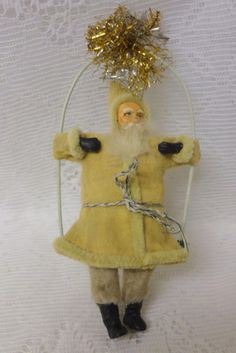 Antique German Old World Santa on Swing Christmas Ornament Very Cute |