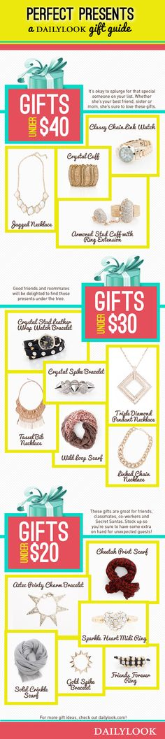 Perfect Presents: A DailyLook Gift Guide. Click the image link to shop these gifts! @dailylook #dailylook #dailylooksugarandspice #fashion #style #jewelry #accessories #gifts #giftideas