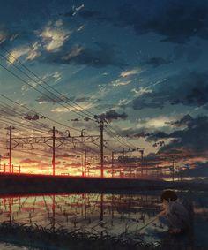 Anime picture with original natsu (pixiv Anime Scenery Wallpaper, Art And Illustration, Aesthetic Art, Landscape Art, Amazing Art, Fantasy Art, Concept Art, Anime Art, Images