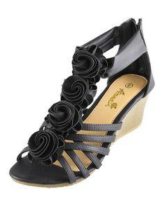 Love this Black Rosette Judy Wedge Sandal on #zulily! #zulilyfinds