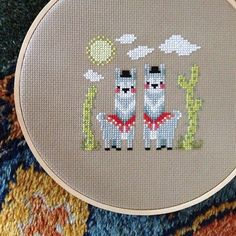 Two cute Llamas in sweet cross stitch by craft like a fox Cross Stitch Quotes, Cross Stitch Love, Beaded Cross Stitch, Crochet Cross, Cross Stitch Animals, Modern Cross Stitch, Cross Stitch Kits, Cross Stitch Patterns, Diy Embroidery