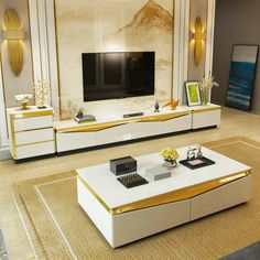Black And White Living Room, Living Table, Cheap Living Room Sets, Round Coffee Table Modern, Living Room Tv, White Living, Modern Tv Stand Living Rooms, Living Room Sets, Tv In Bedroom