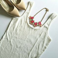 Express Sequin Tank Gorgeous sequin tank perfect to add a little glam to a simple, casual outfit! Gently worn but still in excellent condition! Sequins cover entire front side, back side is plain ribbed tank. Cream/off white color. Express Tops Tank Tops