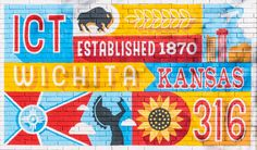 Josh Tripoli and Rebekah Lewis designed a Wichita-themed mural that's on the west wall of the College Hill Deli and has become one of the most popular places to take a picture. Bo Rader, The Wichita Eagle. Outdoor Water Activities, Perfect Selfie, Wood Plaques, Kansas, Oklahoma, Wall Murals, Traveling By Yourself, Cool Art