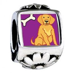 Golden Retriever Dog Photo Flower Charms  Fit pandora,trollbeads,chamilia,biagi,soufeel and any customized bracelet/necklaces. #Jewelry #Fashion #Silver# handcraft #DIY #Accessory