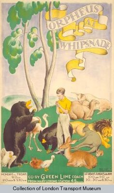 Orpheus at Whipsnade, by Herry Perry, 1933    Published by Underground Electric Railways Company Ltd, 1933  Printed by Vincent Brooks, Day & Son Ltd,  Format: Double royal  Dimensions: Width: 635mm, Height: 1016mm  Reference number: 1983/4/3639