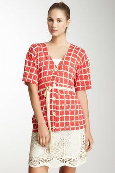 Orla Kiely Spot Check Print Boyfriend Cardigan by Non Specific on @HauteLook
