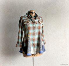 Plaid Hippie Shirt Boho Chic Top Shabby by BrokenGhostClothing