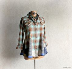 Plaid Hippie Shirt Boho Chic Top Shabby by BrokenGhostClothing
