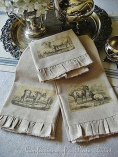 DIY Vintage French Tea Towels from Confessions of a Plate Addict French Decor, French Country Decorating, Country French, Country Farm, French Style, Vintage Tea, French Vintage, Vintage Roses, Vintage Silver