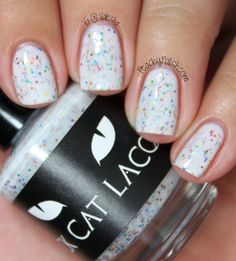 """Black Cat Lacquer (Saturday=Dreaming Collection) - """"Couleurs"""" has teeny tiny rainbow hexes and bars in a white crelly base. Very opaque and good amout of glitter. 3 coats."""