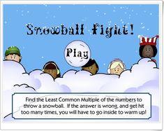 """¡Guerra de nieve!"" (Mínimo común múltiplo). Matemáticas de 6º de Primaria. Snowball, Math, Ideas, War, Winter Games, Snow, Math Resources, Mathematics, Thoughts"