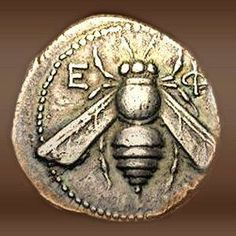 The greek letters Ε ϕ (phi) with the Bee on this silver coin indicates the ancient greek city of Ephesus (Turkey) - the obverse would show its other emblem -the stag. The honey bee and the stag are symbols of the Goddess Artemis. Rome Antique, Art Antique, Ancient Greek City, Ancient Greece, I Love Bees, Art Ancien, Bee Art, Old Coins, Ancient Jewelry