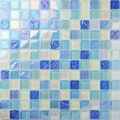 TST Crystal Glass Tiles Beach Blue Iridescent Mosaic Lovely Wave Flower Pattern Interior Crackle Water Wave Design