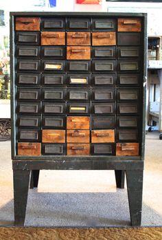 Vintage Industrial Metal 50 Drawer Tool Craft Storage