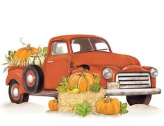 Mary Lake Thompson Vintage truck with fall pumpkins. Vintage Red Truck, Vintage Fall, Autumn Painting, Autumn Art, Autumn Leaves, Vintage Clipart, Truck Crafts, Red Truck Decor, Trucks