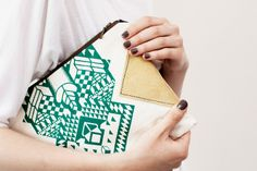 Geometrical Illusion Printed Leather Pouch Green