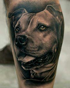 Tattoo done by: Pablo Hernandez Bambamsi.com #pitbull #amstaff