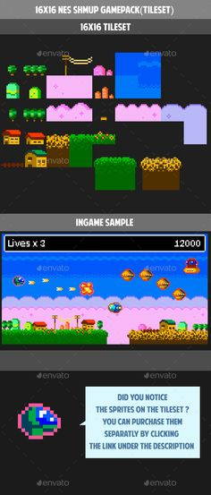 16x16 NES SHOOT THEM UP GAMEPACK (tileset) (Tilesets)