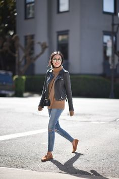 LOVE this outfit but prefer skinny without distressed look. LOVE the loafers leather-jacket-loafers-outfit Loafers For Women Outfit, Loafers Outfit, How To Wear Loafers, Loafers Women, Classic Leather Jacket, Leather Jacket Outfits, Navy Leather Jacket, Jacket Jeans, Leather Jackets